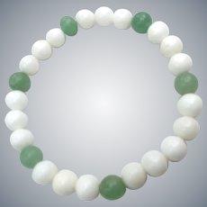 Gemstones Jade  White Onyx Beads Organic Stretch NOS Bracelet