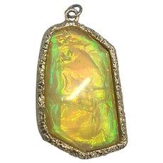 Golden Yellow Foil Glass Italian Murano Art Glass Necklace Pendant