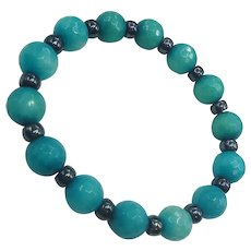 Faceted Blue Art Glass Hematite Beads Unisex Stretch Bracelet