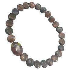 Gemstones Agate Jasper Beads Organic Stretch Unisex NOS Bracelet