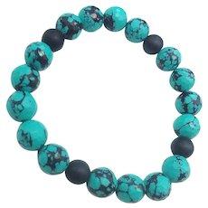 Faceted Blue Art Glass Basalt Beads Unisex Stretch Bracelet