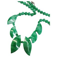 Jade Genuine Green Stone Carved Beaded Strand Necklace