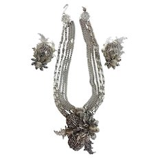 Leru Signed Intricate Cut Steel Micro-Bead Wired Necklace Clip Earrings Set Parure