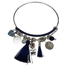 Embellished Darling Blue Dangling  Silver Metal Bangle Charm Bracelet