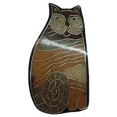 Figural Cat Calico Black Laminated Lucite Composite Inlay Vintage Pin Brooch