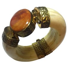 India Agate  Brass Massive Bone Bangle Vintage Bracelet