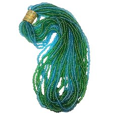 Joan Rivers Signed Mass of Glass Beaded Blue Green Torsade Long Necklace