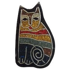 Figural Cat Striped Laminated Glitter Composite Inlay Vintage Pin Brooch