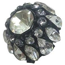 Vintage Schreiner Japanned Black Diamond Rhinestone Extreme Domed Pin Brooch