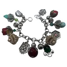 Fully Loaded Silver Large Fob Art Glass Charm Bracelet