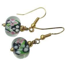Gorgeous Black Pink Floral Venetian Murano Glass Art Glass Beads Pierced Earrings