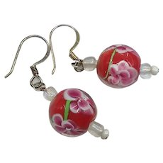 Gorgeous Chinese Red Pink Floral Venetian Murano Glass Art Glass Beads Pierced Earrings