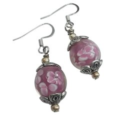 Gorgeous Lilac Pink Floral Venetian Murano Glass Art Glass Beads Pierced Earrings