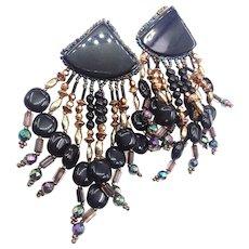 Huge Black Gold Seed Beaded Vintage Gypsy Woven Beaded Bohemian Hippie  Fringed Dangle Pierced Earrings
