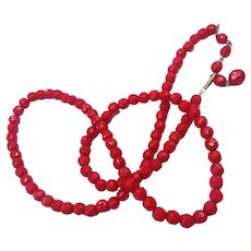 Gorgeous Faceted Bright Red Glass Bead Necklace