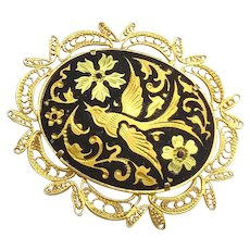 Gorgeous Vintage Japanese Amita Damascene Filigree Mount Large Brooch Pin
