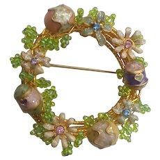 Enamel Easter Eggs Flowers Beaded Wire Rhinestone Pin Brooch