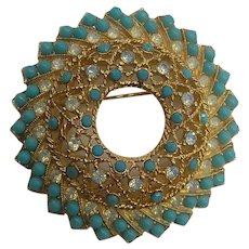 Elegant Sarah Cov Signed White Opal Rhinestones Faux Turquoise Vintage Brooch Pin