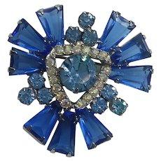 Vintage D & E Juliana Blue Kite Stone Rhinestone Pin Brooch