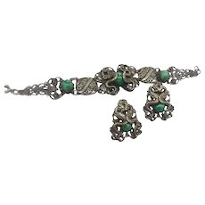 Serpent Mythical Mystical Dragon Lizard  Art Nouveau  Revival Link Bracelet Earrings Set