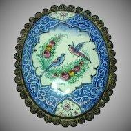 Enamel Persian Signed Qajar Flowers Birds Handpainted Sterling Silver Brooch Pin