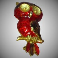 Enamel Red Brown Gold tone Owl Pin Brooch