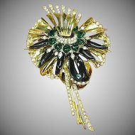 DeRosa,unsigned Estate 1940's Clear and Green Crystal Rhinestones Enamel Brooch