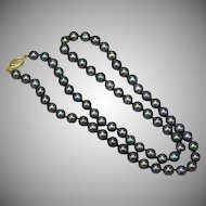 Tahitian Cultured Baroque Black Pearls with 14K Yellow Gold Clasp