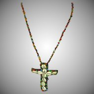 "Art Glass African Hand Made Trade Beads Long 28"" Glass Shell Cross Necklace"