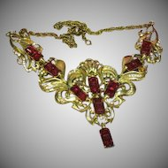 Reja Outrageous! Amazing! Designer Red Giant Rhinestones Necklace