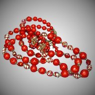 Vendome Vendôme, Crystal Art Glass Red Necklace and Earrings Set Demi Parure