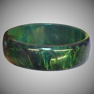Bakelite Vintage Smooth Sleek Blue Moon Oval Bangle Bracelet