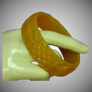 Bakelite Phenomenal Translucent Butterscotch Opulent Carved Bangle Bracelet