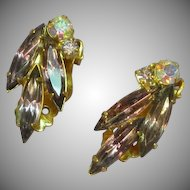 Juliana,D&E Purple and A/B Rhinestone Estate Clip Earrings