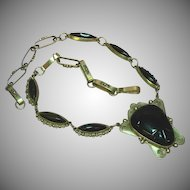 "Taxco .925 Silver Onyx 19"" Link Necklace"