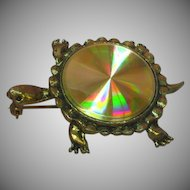50% OFF SALE Turtle Hypnotic Spiral Hologram  Shell Bright Shiny Gold-tone Figural Pin Brooch