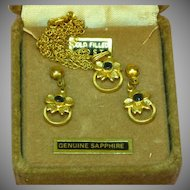 50% OFF SALE Sapphire and Gold Filled GF  Vintage  Necklace and Earrings in Original Box Set Demi Parure