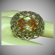 Mandarin Citrine Crystal Sterling Silver Marcasites Huge Cocktail Ring
