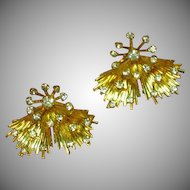 Emmons Signed Rhinestones and Gold Tone Elegant Vintage Clip Earrings