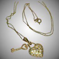 50% OFF SALE Rhinestones Sweetheart Lock and Key Necklace