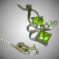 Peridot CZ Rhodium Plate Sterling Silver Genuine Gem Stones Necklace