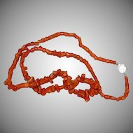 "Coral Single Strand Museum Quality Coral with Ornate Clasp 24"" Necklace"