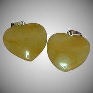 Genuine Stone Set Of Two Polished Agate Heart Shaped Charms Pendants