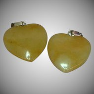 Genuine Stone Set Of Two Polished Agate Heart Shaped Charms Pendants