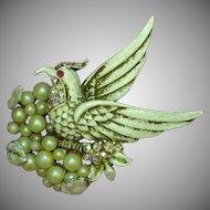 Rare Marcel Boucher Book-Piece Rhinestone Bird of Paradise Sitting on a Pearl Nest Brooch
