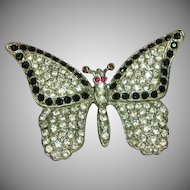 Art Deco Large Paved Rhinestone Butterfly Pin