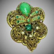 West Germany Green Art Glass Rhinestone Elaborate Filigree Pendant Brooch, Pin
