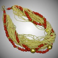 Coral Art Glass Seed Bead Torsade Necklace