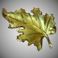 Crown Trifari Gold Tone Realistic Leaf  Pin Brooch