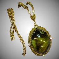 50% OFF SALE!  West Germany Marked Sensational Large Emerald Green Art Glass & Rhinestone Necklace